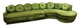 Crushed Velvet Two Piece Green Sectional Sofa