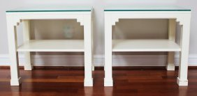 Pair Of White Lacquer Asian Style Side Table