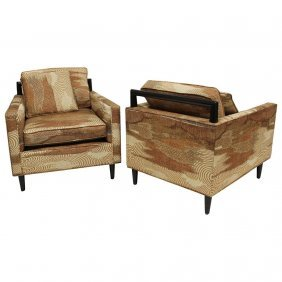 Pair Of Harvey Probber Chairs Jack Lenor Larsen Fabric
