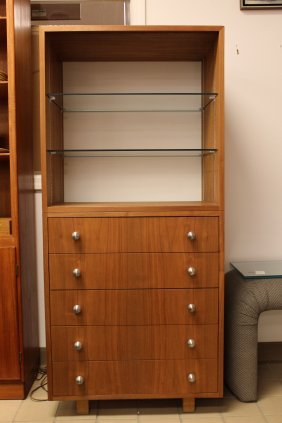 Lighted Cabinet Shelving Unit Wood & Glass