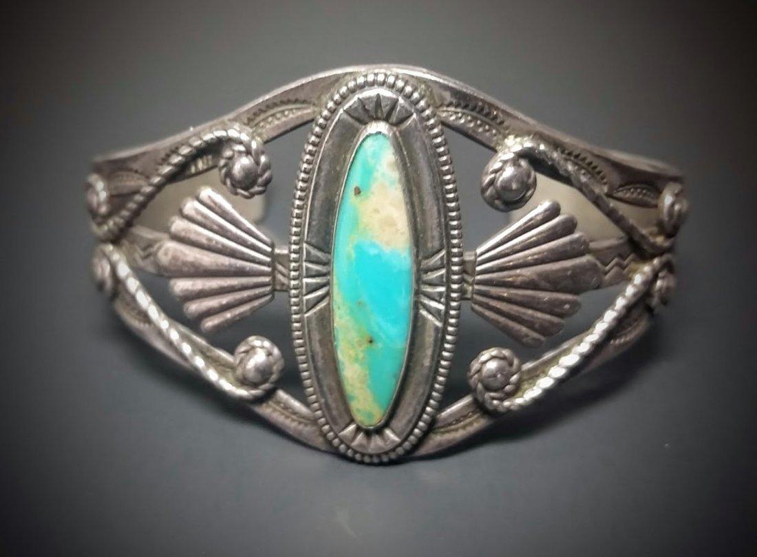 Vintage Turquoise Navajo Bracelet 1950's - 1970's