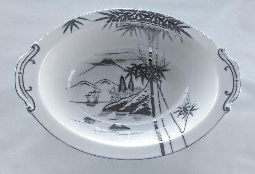 KUTANI China Serving Bowl Bamboo Design