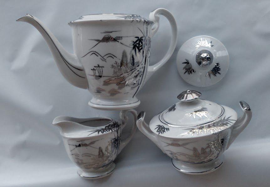 KUTANI China Sugar Bowl Set - Bamboo Design