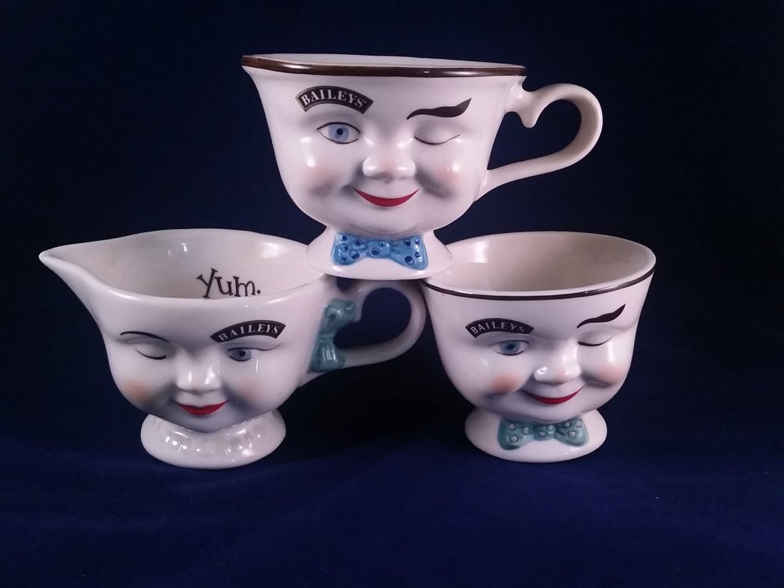 """Vintage BAILEY'S """"YUM CUPS"""" Creamer Set PLUS Coffee Cup"""