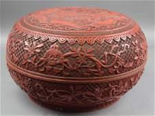 Large Chinese Qing Cinnabar round box