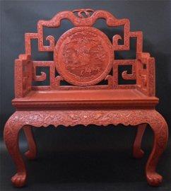 Large Chinese Qing cinnabar throne chair