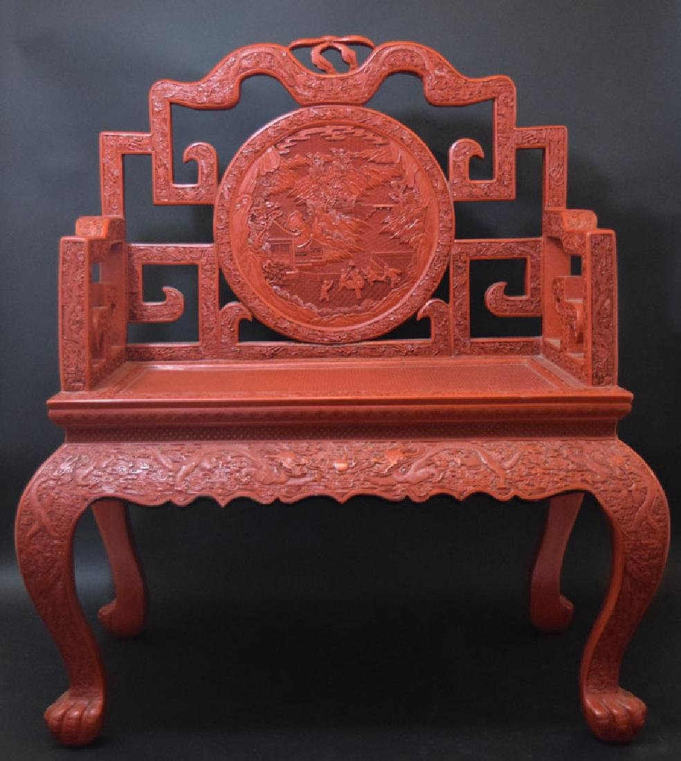 Large Chinese Qing cinnabar throne chair