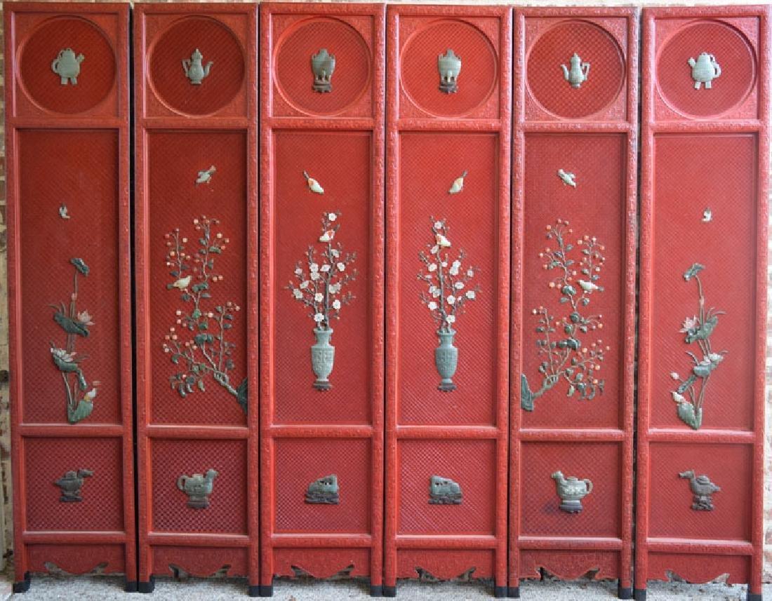 Chinese jade inlaid cinnabar six panel screen