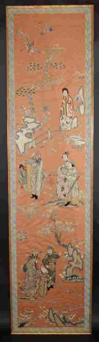 Chinese Qing imperial 18th C. Suchou school embroidery