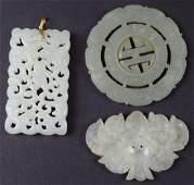 Three Chinese carved jade pendant