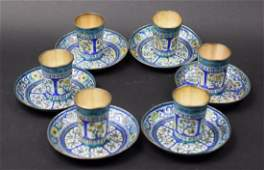 Set of 6 Chinese Qing enamel over silver cups with