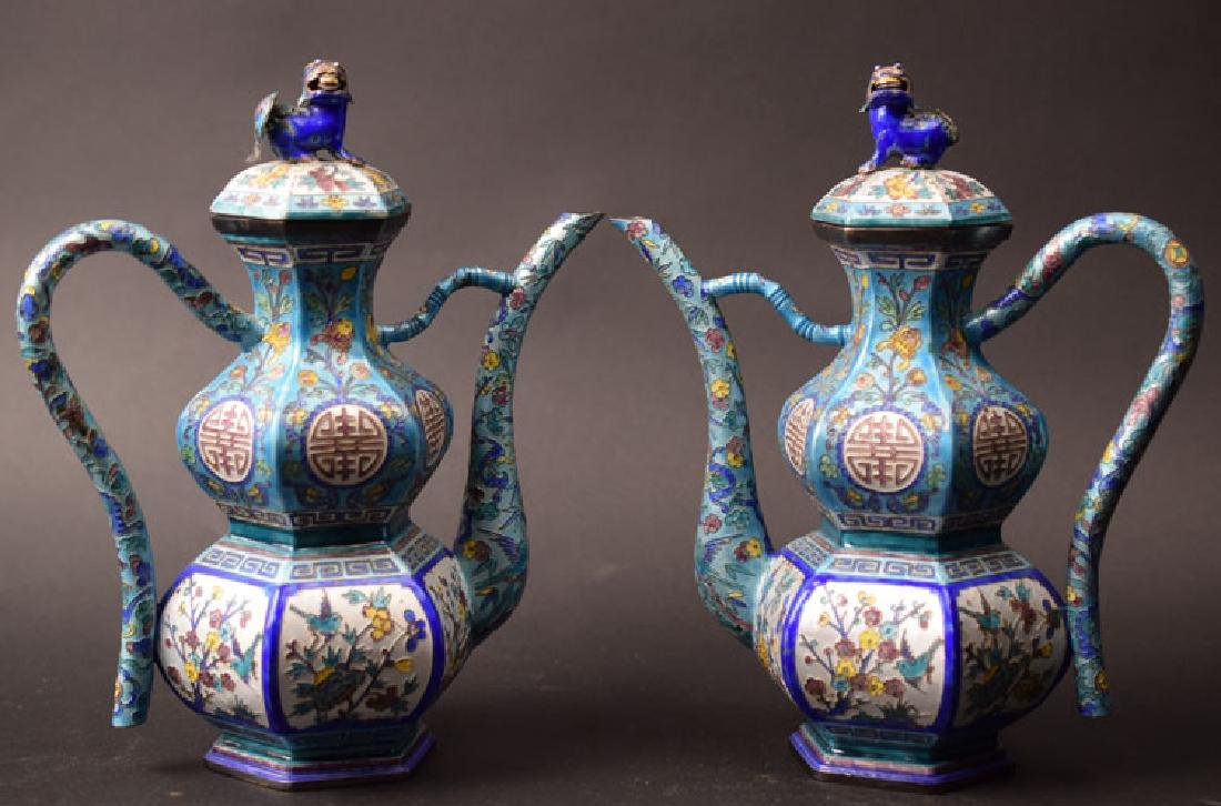 Pr. Chinese Qing enamel over silver tea pots