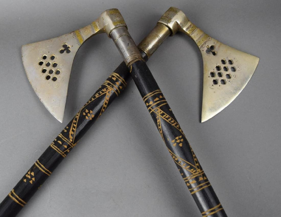 Pair Hungarian Late 19th C. Battle Axes - 5