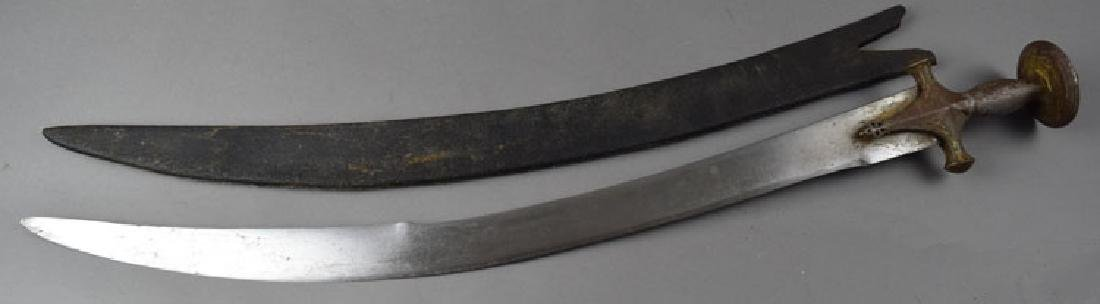 19th C. Indian Tulwar Sword with Gilded Head - 2