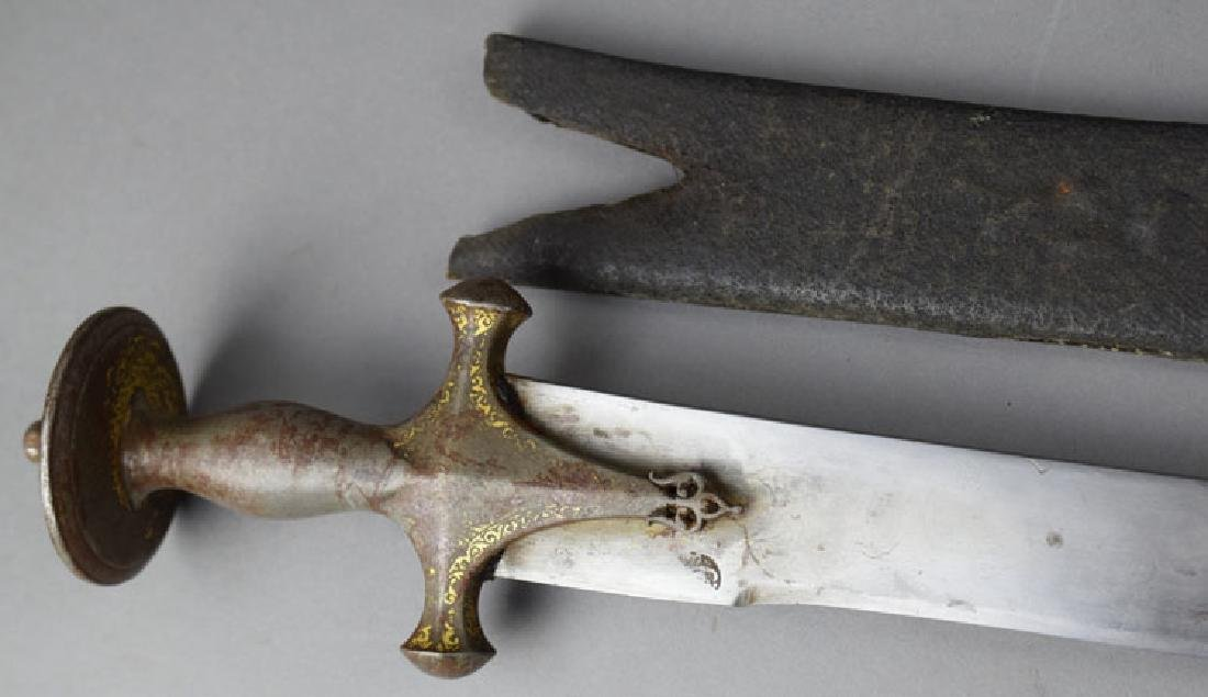 19th C. Indian Tulwar Sword with Gilded Head - 6