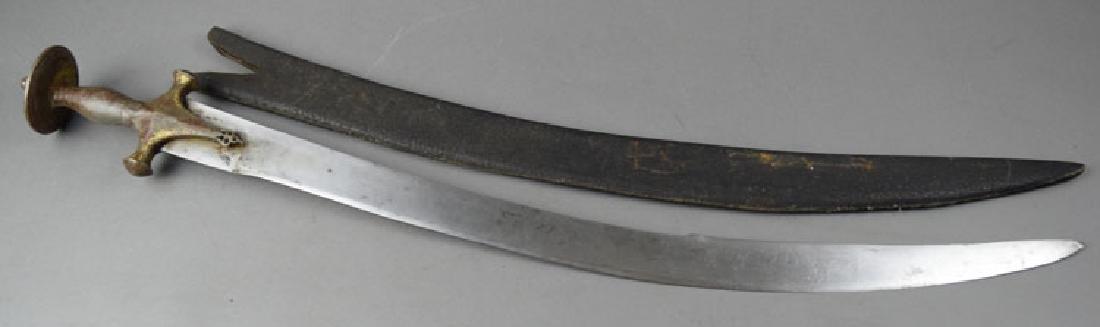 19th C. Indian Tulwar Sword with Gilded Head - 9