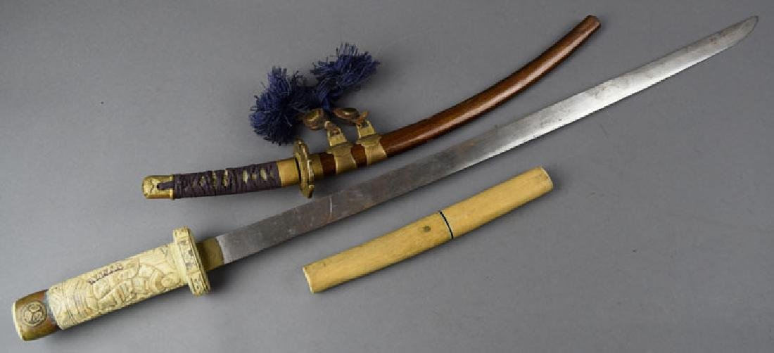 Lot of 2 Japanese Swords and Knife