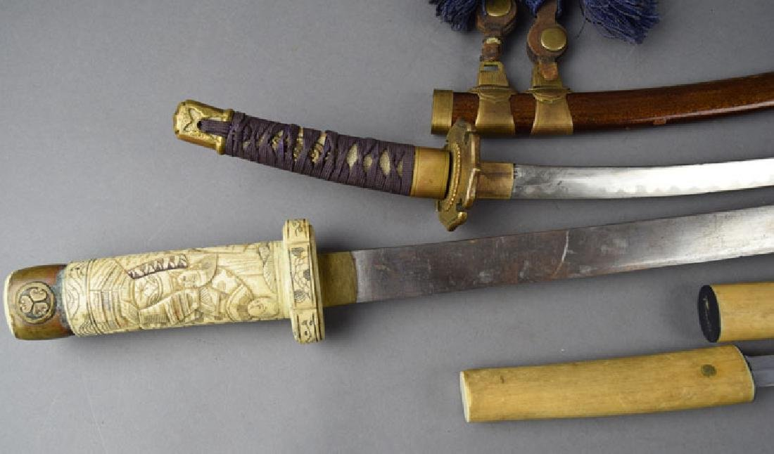 Lot of 2 Japanese Swords and Knife - 3