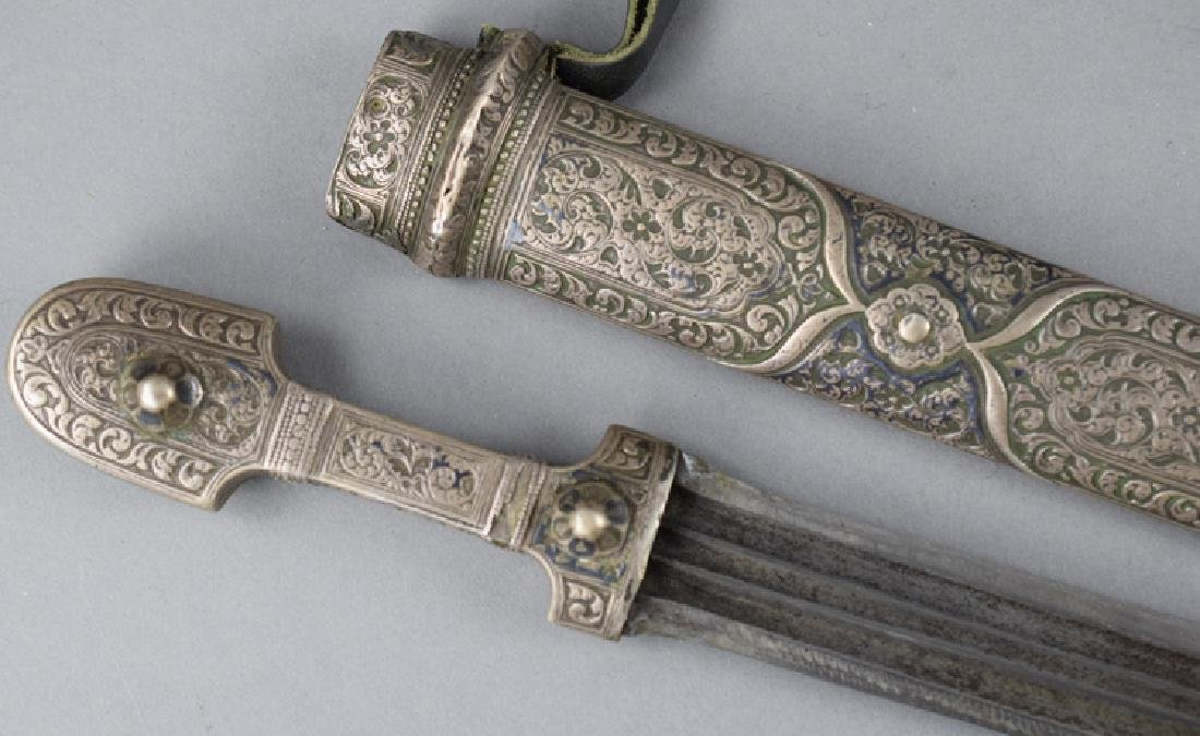 19th C Imperial Russian Caucasian Silver Kinjal, Marked - 2