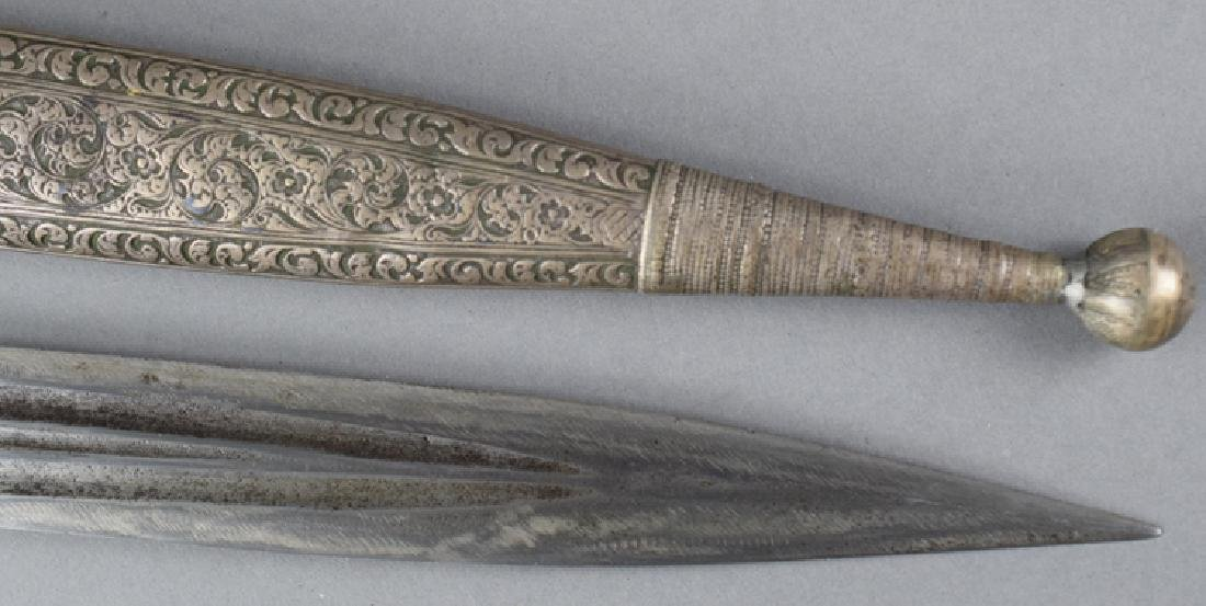 19th C Imperial Russian Caucasian Silver Kinjal, Marked - 4