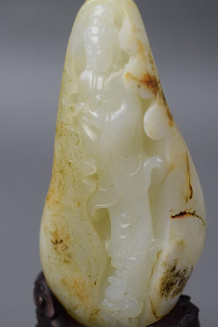 Chinese carved white jade mountain with russet skin - 5