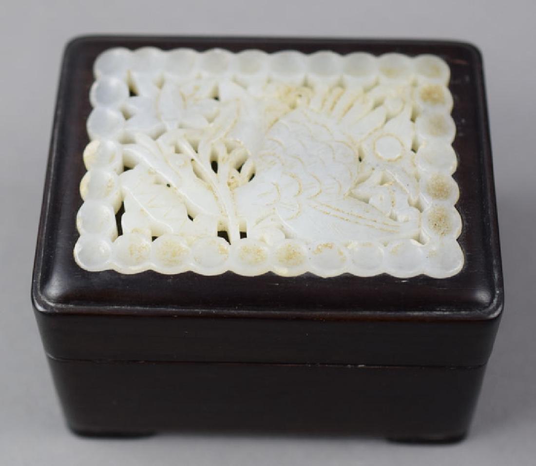 Chinese white jade inlaid rosewood box