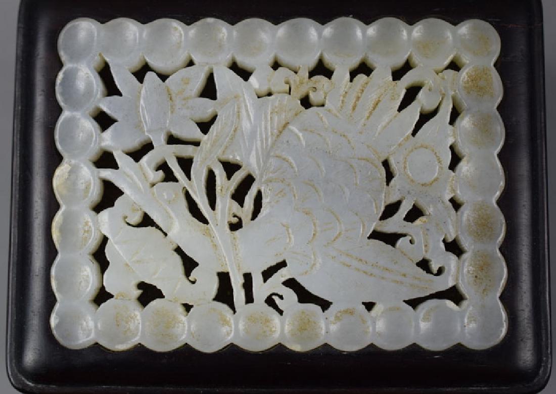 Chinese white jade inlaid rosewood box - 2