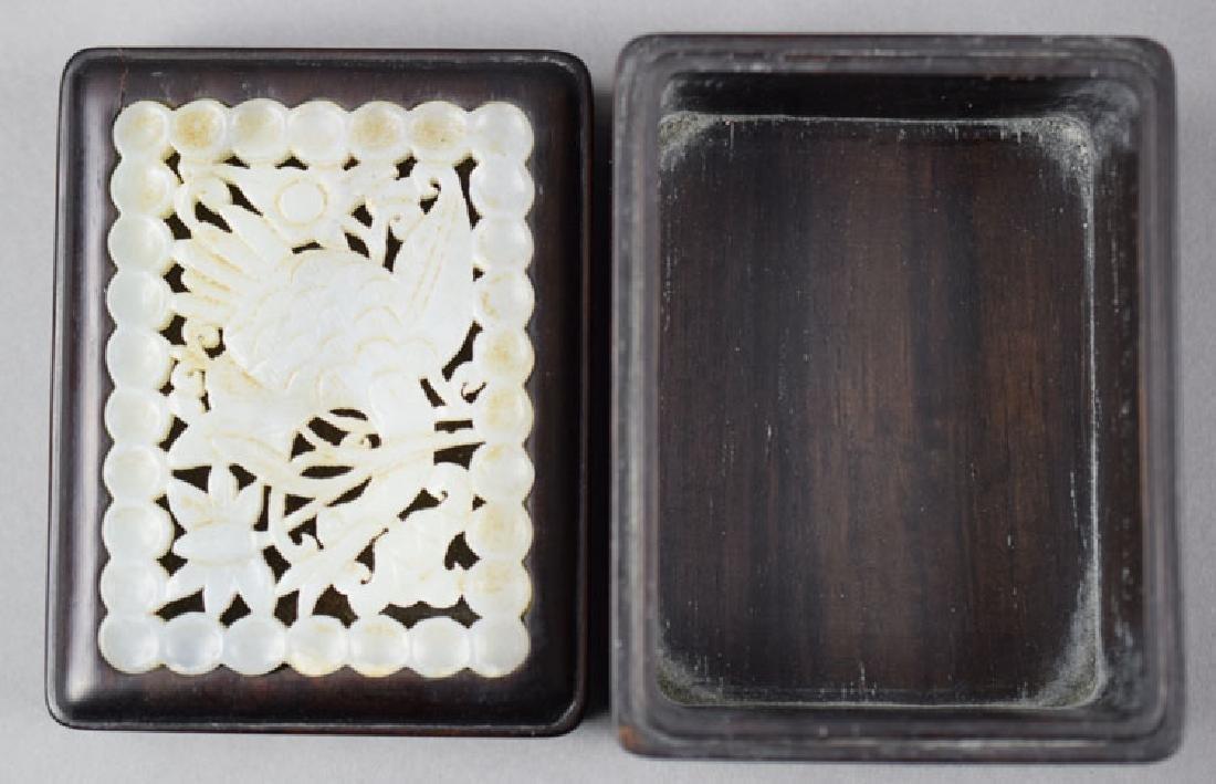 Chinese white jade inlaid rosewood box - 3