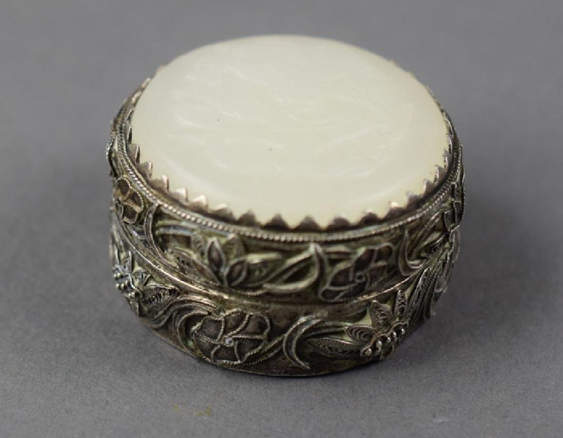 Chinese white jade mounted silver box