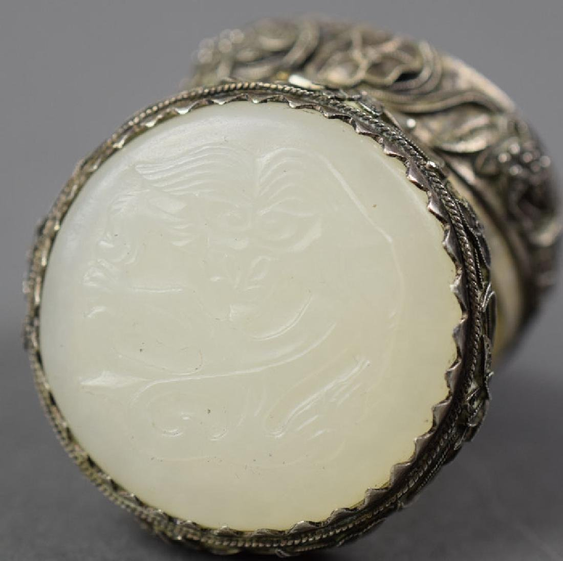 Chinese white jade mounted silver box - 2