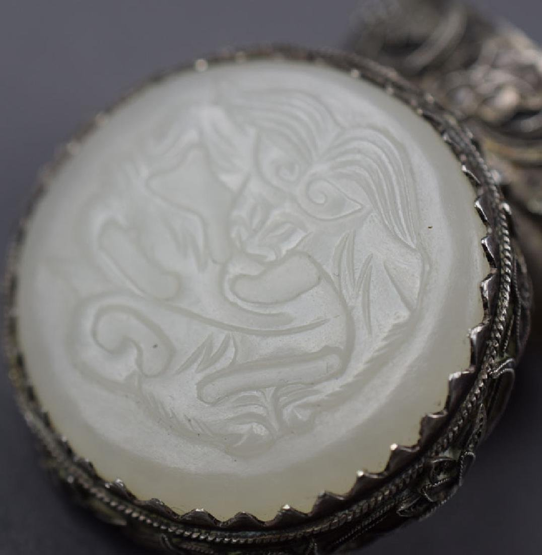 Chinese white jade mounted silver box - 3