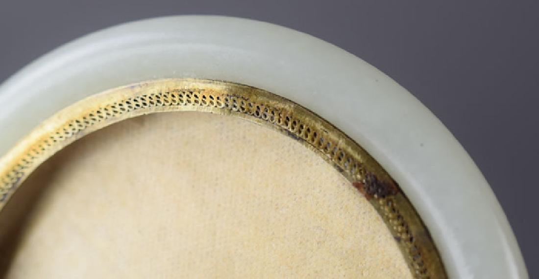 Chinese gilt silver mounted white jade bracelet - 4