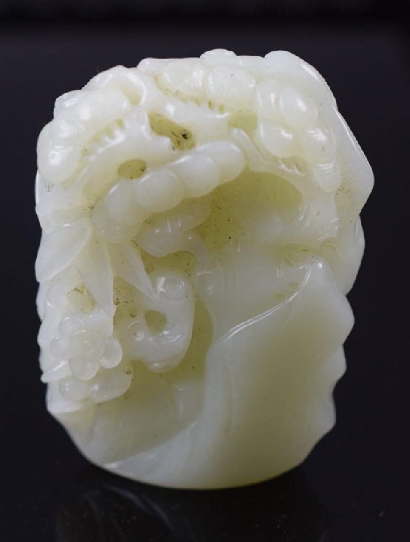 Chinese carved white jade mountain