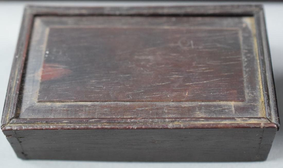 Three Chinese rosewood boxes and a bamboo wrist rest - 2