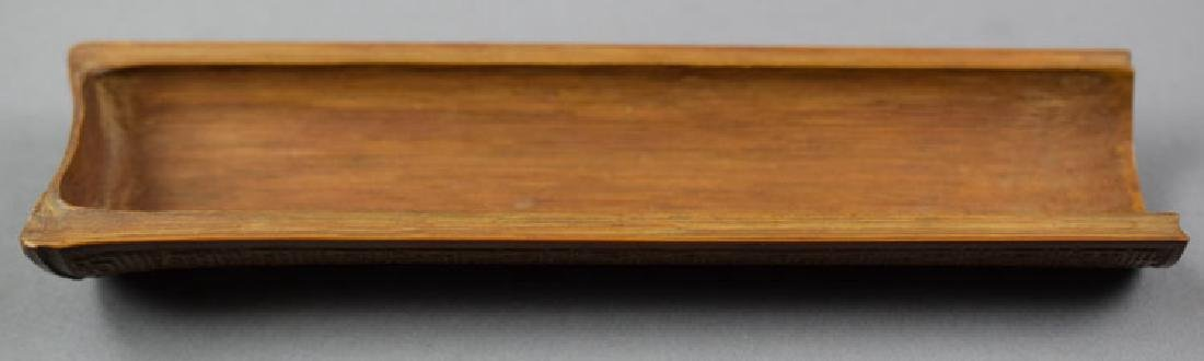 Three Chinese rosewood boxes and a bamboo wrist rest - 5