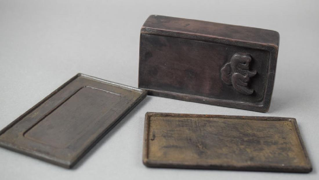 Chinese Qing carved ink stone within a rosewood box - 2
