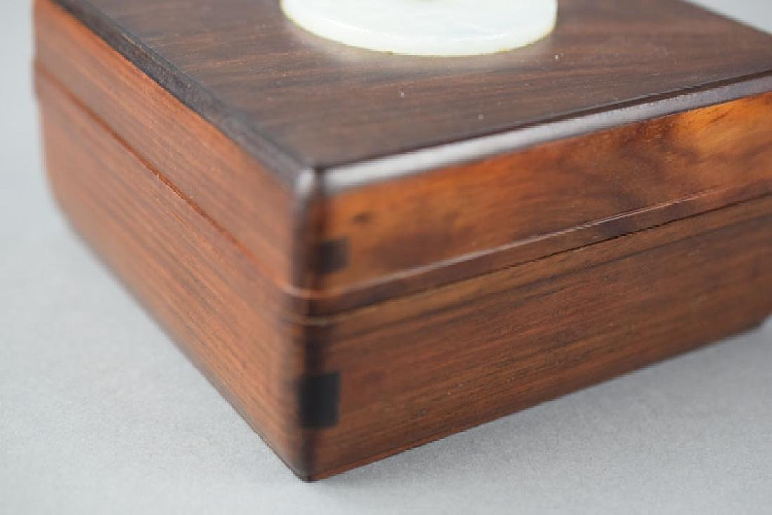Chinese jade inlaid rosewood box - 2