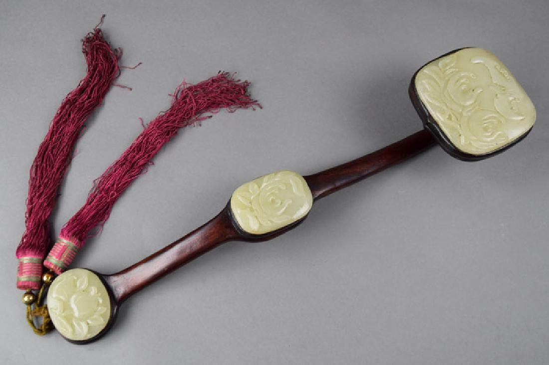Chinese jade inlaid rosewood Ruyi scepter