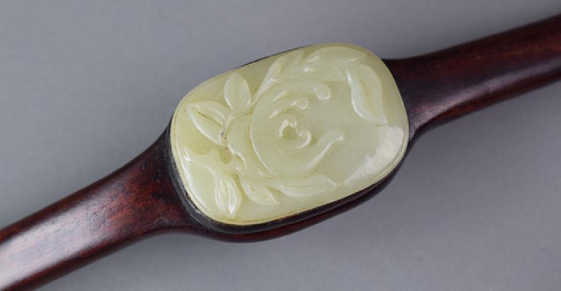 Chinese jade inlaid rosewood Ruyi scepter - 3