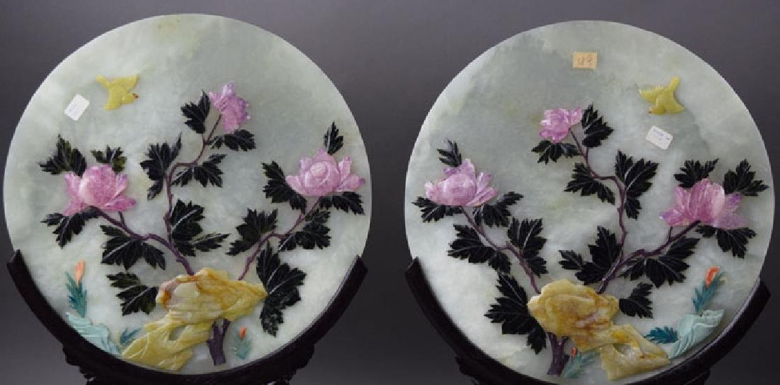 Pr. Chinese carved round jade table screens - 2