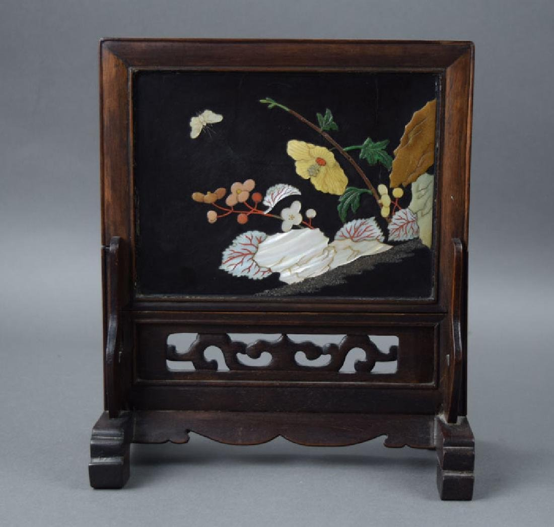 Chinese mother of pearl inlaid hardwood table screen