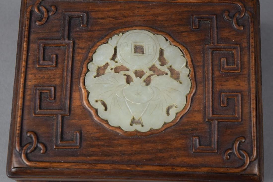 Chinese Qing jade inlaid  Huanghuali box - 2