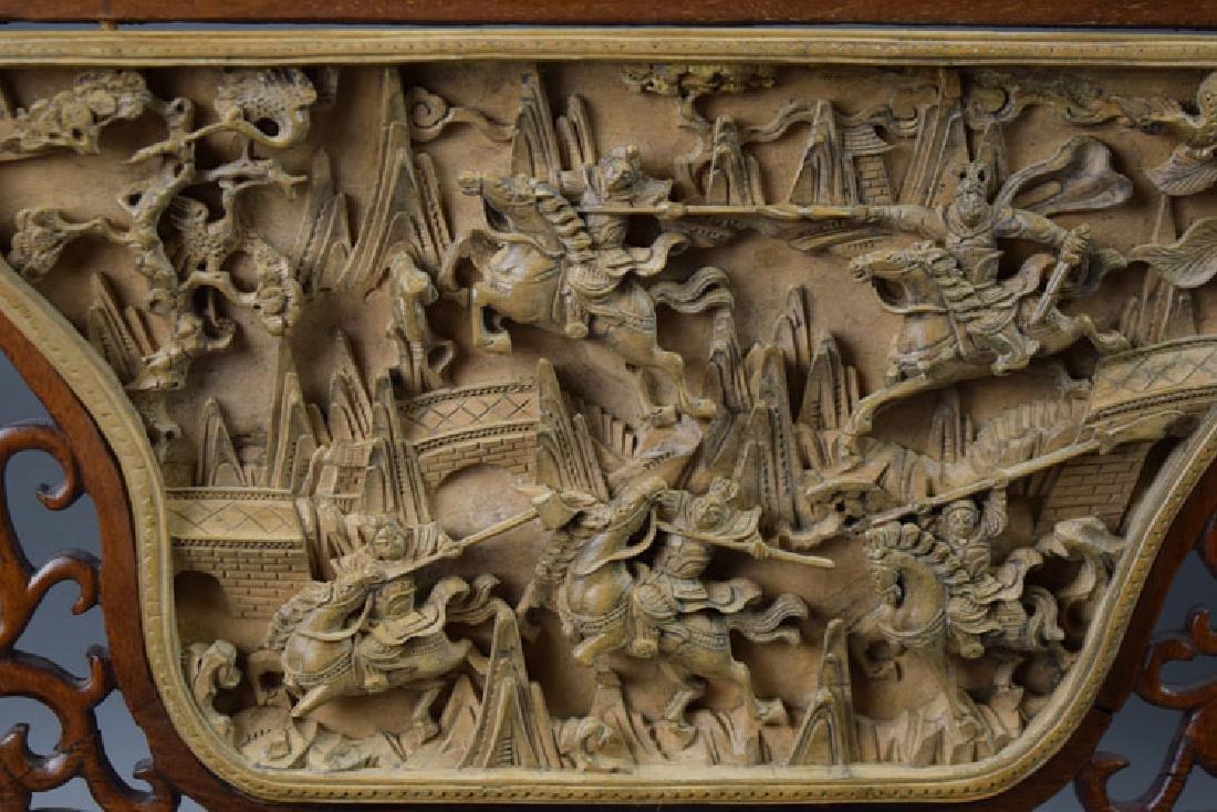 Chinese carved boxwood inlaid hardwood screen - 2