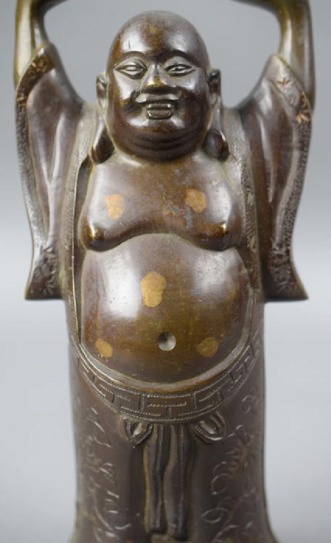 Chinese late Qing gold splashed bronze Buddha - 2