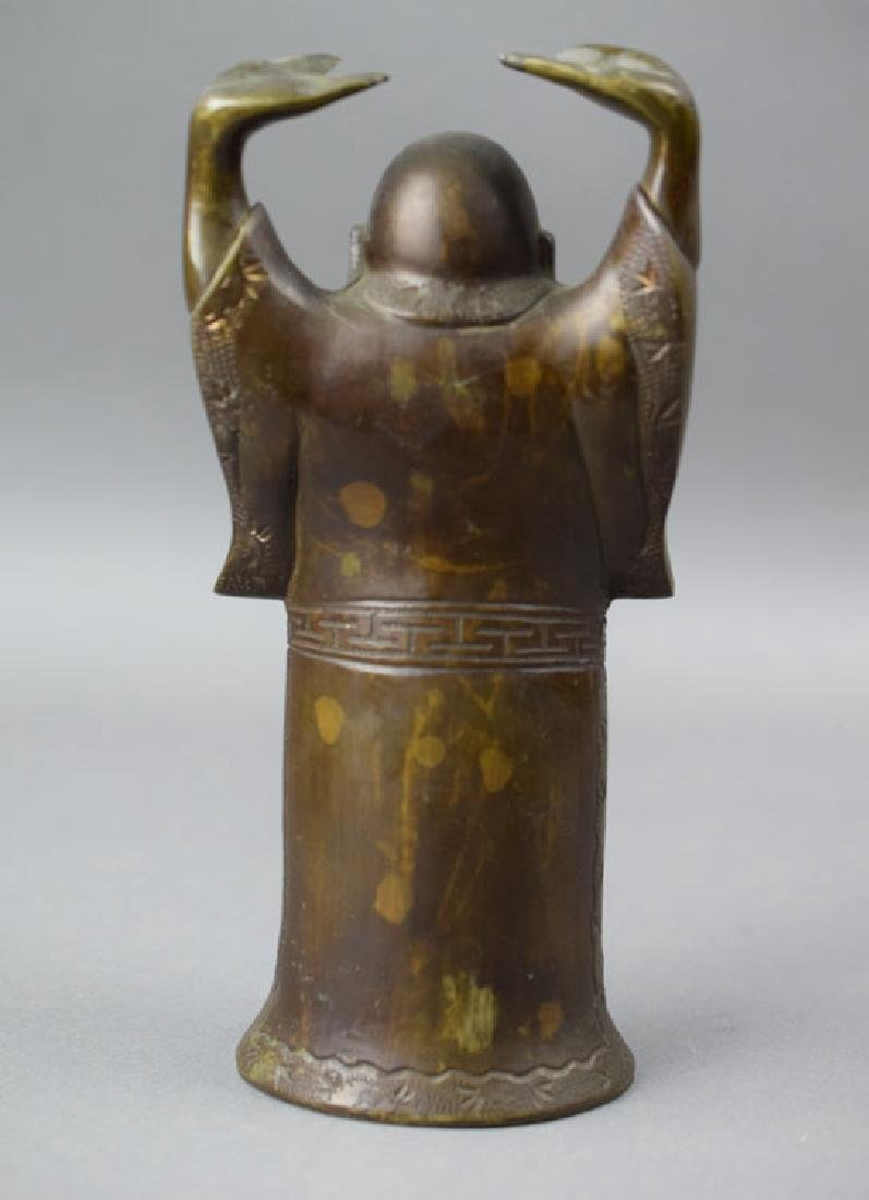 Chinese late Qing gold splashed bronze Buddha - 4