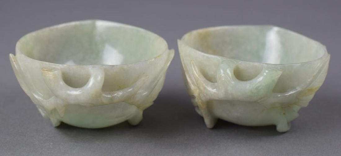 Pr. Chinese Qing carved jadeite peach shape cups - 2