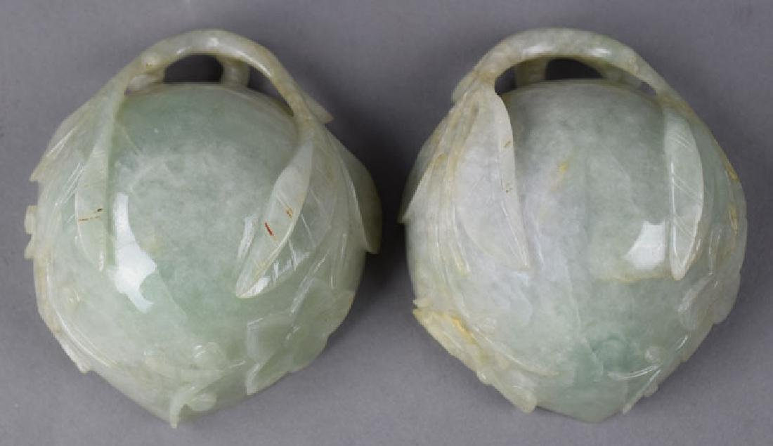 Pr. Chinese Qing carved jadeite peach shape cups - 4