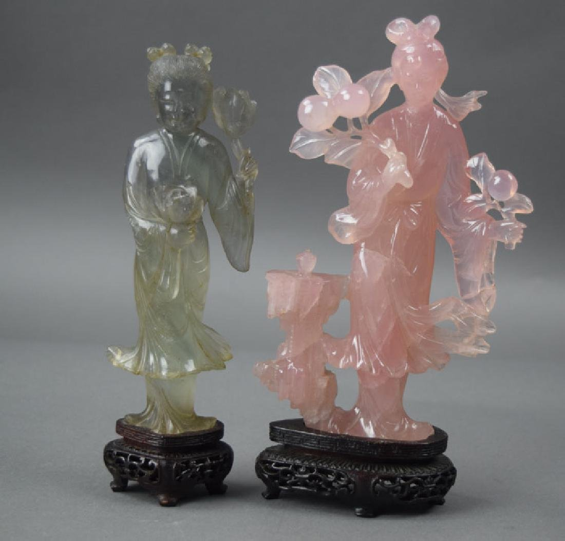 Two Chinese carved rose quartz figures