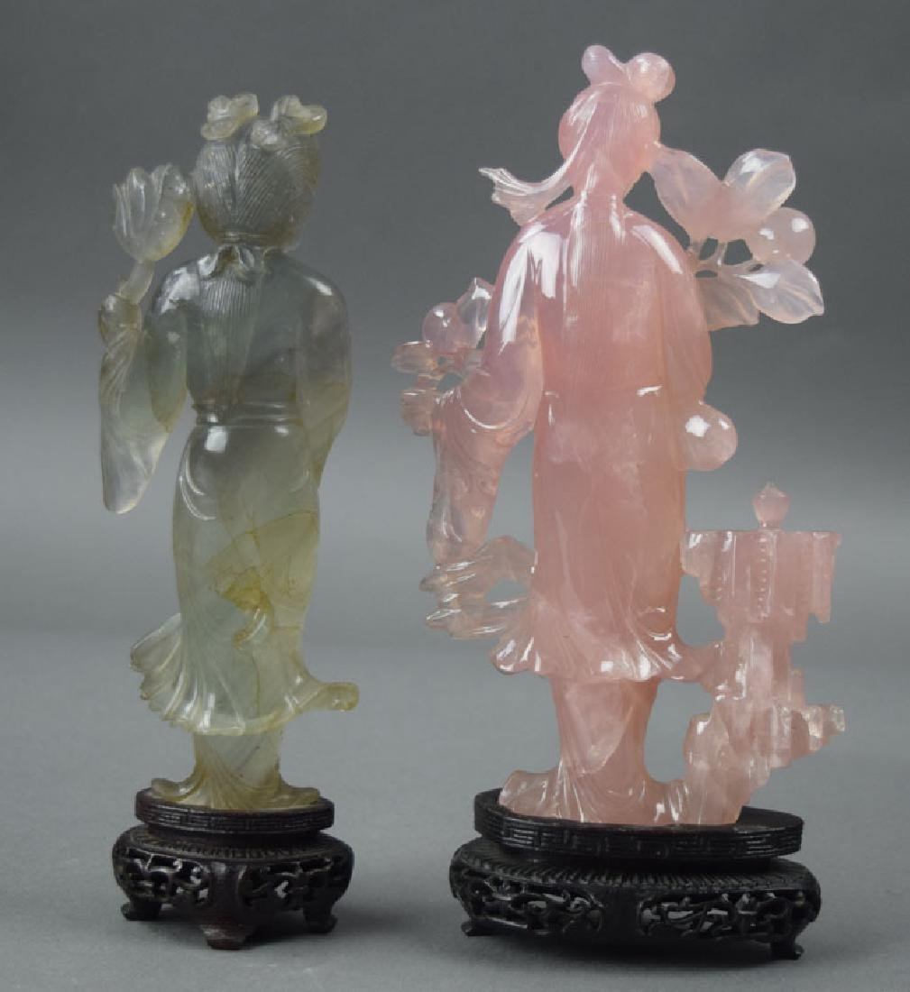 Two Chinese carved rose quartz figures - 4