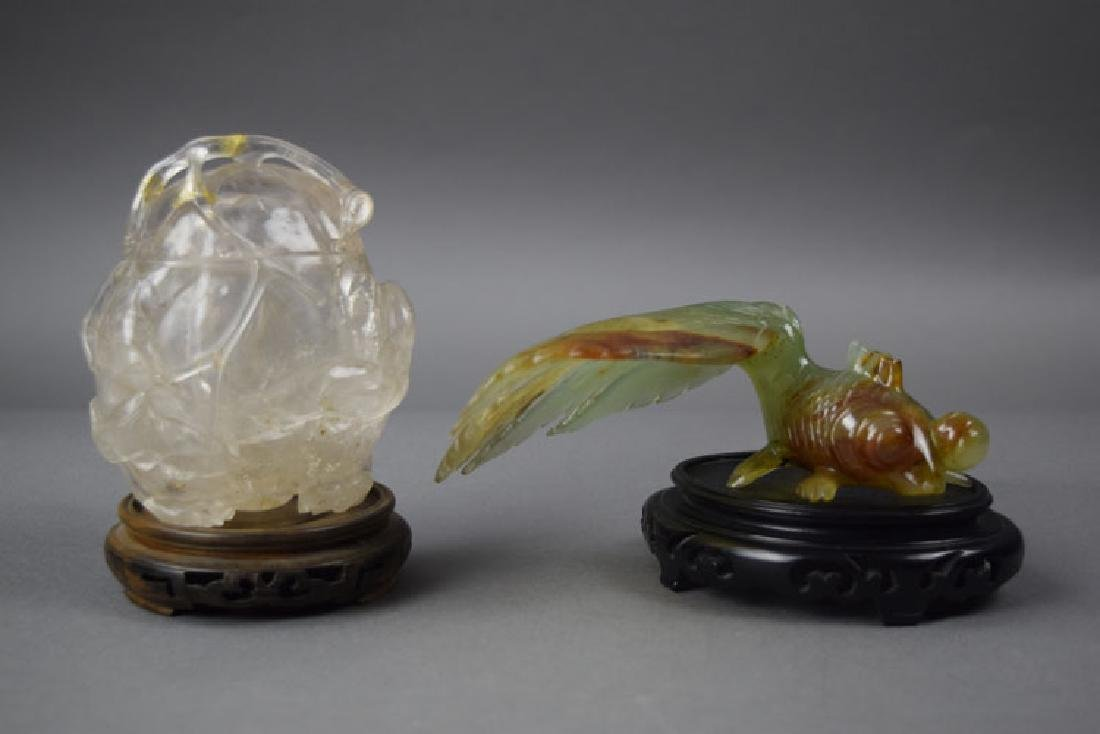 Chinese carved rock crystal jar and a agate goldfish